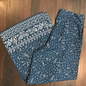 Free people wide leg chambray white floral pant